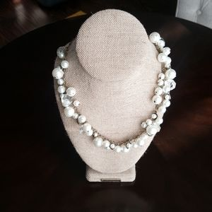 Pearl Crystal Drop Long Necklace